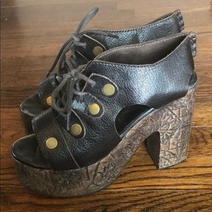 Free People Lace Up Wood Heels